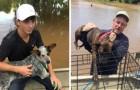 Un père et un fils sauvent ensemble plus de 40 chiens abandonnés pendant une inondation