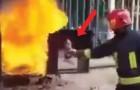 Ein Feuerwehrmann nimmt eine Coca-Cola Flasche: wie er sie dann einsetzt ist PHÄNOMENAL!