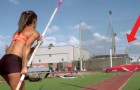 An athlete prepares to pole vault --- her subjective video is mesmerizing!