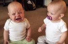 Two twin baby girls and one pacifier --- the result is quite amusing!