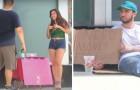 Elle fait la manche pour se refaire les seins, lui pour manger: regardez la réaction des passants...