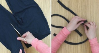 Faz tirinhas de tecido com um velho legging: veja o que obtém!