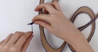 Trança a lã no papelão: o resultado é um belíssimo objeto de decoração