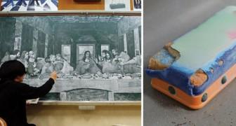 Questo professore di arte ricrea per i suoi alunni opere famose con i gessetti: l'effetto è strabiliante