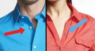 De historische redenen waarom dames- en herenoverhemden aan weerszijden knopen hebben
