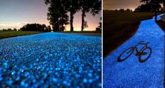 Ecco la pista ciclabile che si illumina di notte... e si ricarica col sole!