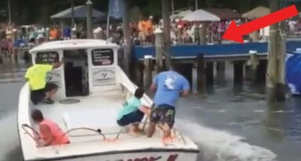 A man skillfully docks his motorboat! IMPRESSIVE!