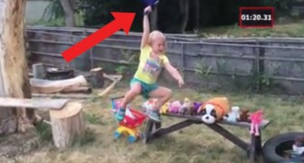 A dad puts his little Ninja daughter to the test .....