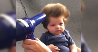 A baby born with a FULL HEAD OF HAIR!