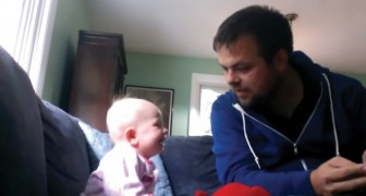 A talented uncle reads his baby niece a fairy tale ...
