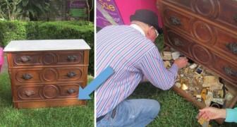 Er kauft ein altes Möbelstück auf dem Trödel und entdeckt in seinem Inneren ein hohles Geheimnis...ein wahrer Schatz!