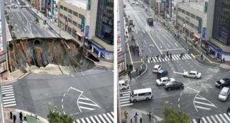 L'efficacité des Japonais: le gouffre géant réparé en seulement 2 JOURS