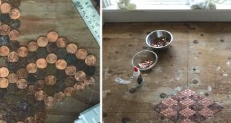 Ze heeft 15.000 munten op de vloer geplakt. Het eindresultaat is ongelooflijk!