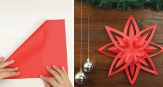 Aprende como obtener una estupenda estrella de Navidad con una simple tecnica de origami