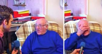 Han lyssnar på sin frus meddelande i röstbrevlådan: omöjligt att inte gråta