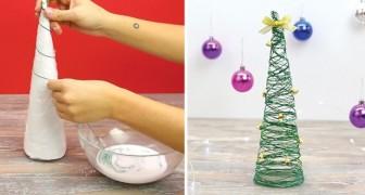 Ze dompelt het draad in de lijm en laat het langs een kegel lopen: het resultaat is een elegante kerstdecoratie!
