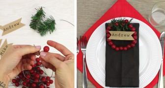 Plaatstoewijzing met bessen en dennentakjes: deze kerstdecoratie is zo gepiept!