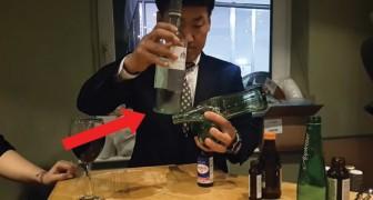 Intenta de poner en equilibrio 4 botellas: la habilidad de este hombe es asombroso