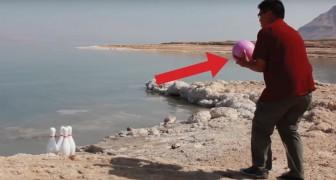 Una palla da bowling di 7 kg lanciata nelle acque del Mar Morto: ecco l'esperimento