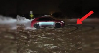 Drifting a Lamborghini in the snow can be dangerous but great fun! :)