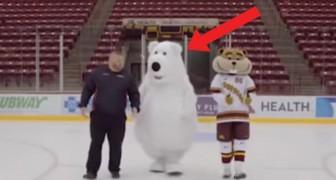 Sie versuchen einen Werbespot auf dem Eis zu drehen, aber behaltet das Maskottchen im Auge