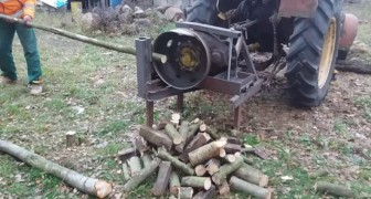 An ingenious homemade woodcutter --- crude but very EFFECTIVE!