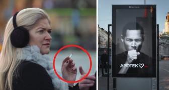 La donna passa con la sigaretta vicino al cartellone pubblicitario: ciò che accade la farà riflettere