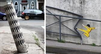 Trasformare il cemento in arte: alcune piccole creazioni che strappano un sorriso ai passanti