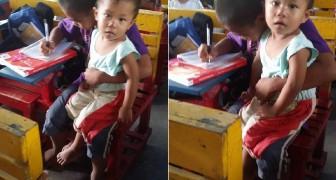 Deze jongen zou lessen moeten missen om voor zijn broertje te moeten zorgen, maar hoe hij dit aanpakt verdient een applaus!