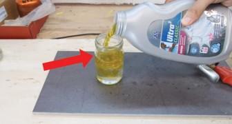 Comment couper à la perfection un récipient en verre avec de l'eau et... de l'huile.