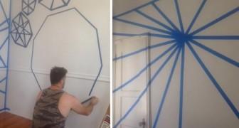Ricoprono le pareti con del nastro adesivo e poi pitturano: quando lo rimuovono l'effetto è stupefacente