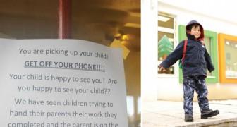 Les parents et les smartphones: le message qu'accrochent ces enseignants à l'école nous fait réfléchir