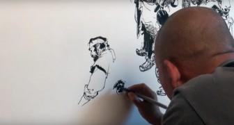 Hij tekent uit de losse pols: zijn vermogen om uit het iets zoiets gedetailleerd te tekenen is verbazingwekkend!