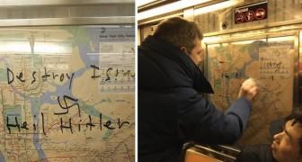 Een metrowagon is beklad met hakenkruizen, maar de actie van deze jongen laat IEDERE passagier tot actie overgaan