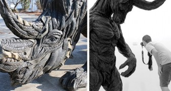 Quando gli pneumatici diventano arte: le imponenti sculture bestiali di un artista coreano