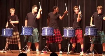 Scottish guys with drums .. So talented!