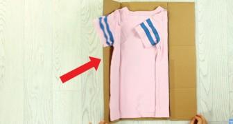 Veja como dobrar as camisetas como em uma loja, basta usar um pedaço de papelão!