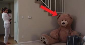 Iemand heeft zich verstopt in de teddybeer: deze prank is duivels goed!