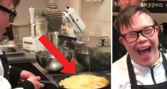 Questo cuoco apprendista sembra aver combinato un disastro, ma aspettate che si giri