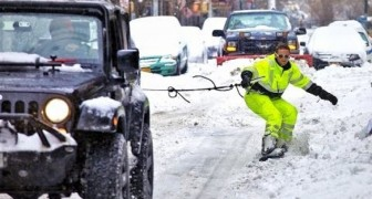 Snowboard per le strade di New York