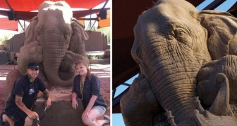 Due artisti creano un'impressionante elefante di sabbia: il risultato finale ha superato ogni aspettativa