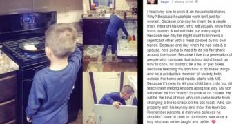 Posta le foto del figlio che fa le faccende e viene duramente criticata: la risposta è esemplare
