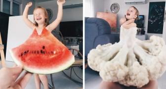 Cette maman habille sa fille avec des aliments et des fleurs: l'effet final des photos n'a pas de prix