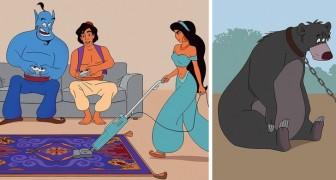 Deze tekenaar schetst een beeld van hoe Disneypersonages zouden lijken als ze  zich in situaties van het echte leven zouden bevinden