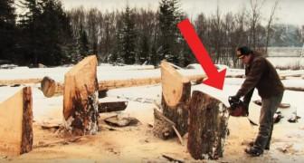 Il commence à couper des troncs avec la tronçonneuse... Le résultat est un banc UNIQUE en son genre!