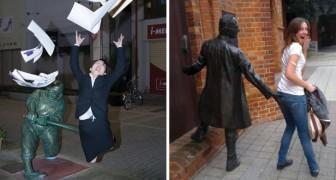 28 foto di persone che hanno posato accanto ad una statua... creando una scena ESILARANTE