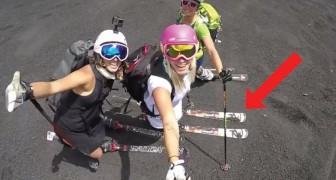 3 donne italiane scendono dall'Etna con gli sci: anche SENZA NEVE la discesa è da brivido
