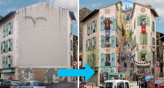 This artist transforms the anonymous facades of buildings into lively, full-fledged frescoes
