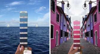 Un designer italien parcourt le monde pour associer les nuanciers Pantone avec les paysages naturels et les villes.