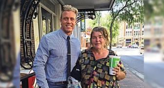 Este homem fez amizade com uma moradora de rua: todas as terças eles almoçam juntos e ele a ensina a ler